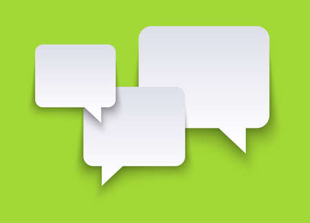 vector illustration of white speech bubbles with shadows on green colored background and free space for text 矢量图像