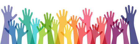vector illustration of many different colored people stretch their hands up symbolizing cooperation or diversity friendship 矢量图像