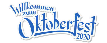 vector file with blue and white header with text Welcome to Oktoberfest 2020 (in german)