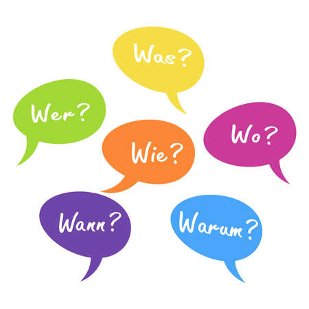 EPS vector illustration of colored speech bubbles with text 'who how where what when why' in german, ask and answer concept