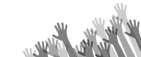vector illustration of many different gray colored people stretch their hands up symbolizing cooperation or diversity friendship