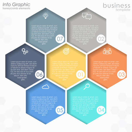 vector file for business info graphic template designs, team work concepts and data information with seven process options
