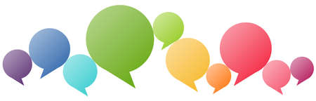 illustration of colored speech bubbles in a row with space for text