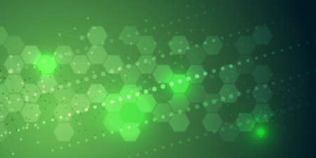 EPS 10 vector abstract science and futuristic hexagonal technology concept background. Digital image with green light effects and blurs over darker background
