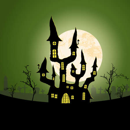 spooky dark castle in front of a full moon with grave stones and other scary illustrated elements for Halloween background layouts 矢量图像