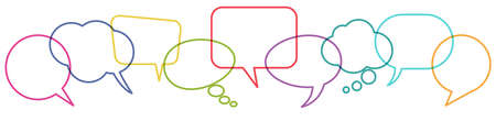illustration of outlined colored speech bubbles in a row with space for text symbolizing communication process with white background 矢量图像