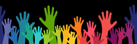 illustration of many colored people stretch their hands up symbolizing cooperation or diversity friendship