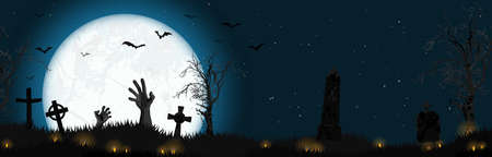 vector illustration with undead hands in front of full moon with scary illustrated elements for Halloween background layouts 矢量图像
