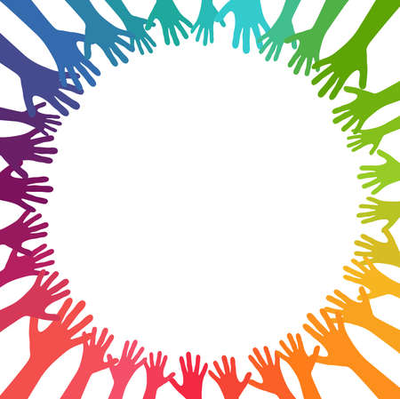 EPS vector illustration of many different colored people stretch their hands up in a circle symbolizing cooperation or diversity friendship