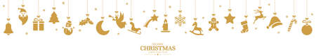 different abstract hanging icons colored gold for christmas and winter time concepts with Christmas and New Year greetings