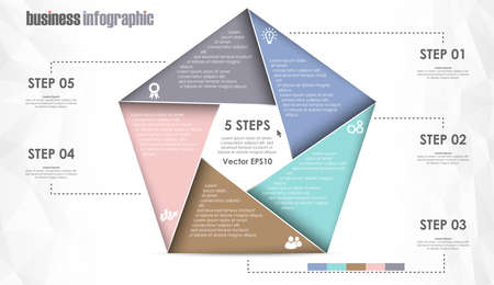 EPS 10 vector file for business info graphic template designs, team work concepts and data information with five options