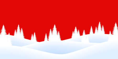 EPS 10 vector file showing christmas time nature landscape background with snow fields, firs and colored background 矢量图像