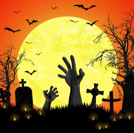 vector illustration with undead hands in front of full moon with scary illustrated elements for Halloween background layouts