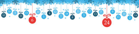 hanging christmas baubles colored blue with numbers 1 to 24 showing advent calendar for xmas and winter time concepts, snow flakes on top side panorama style Иллюстрация