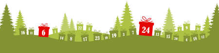 lying christmas presents colored green with numbers 1 to 24 showing advent calendar for xmas and winter time concepts, nature background with fir trees and christmas symbols