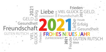 eps vector file with word cloud with new year 2021 greetings and white background