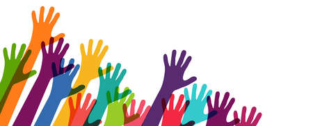 EPS vector illustration of many different colored people stretch their hands up symbolizing cooperation or diversity friendship