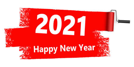 eps vector file with red colored paint roller concept for New Year 2021 advertising greetings