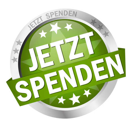 EPS 10 vector with round colored button with banner and text donate now (in german) Illusztráció