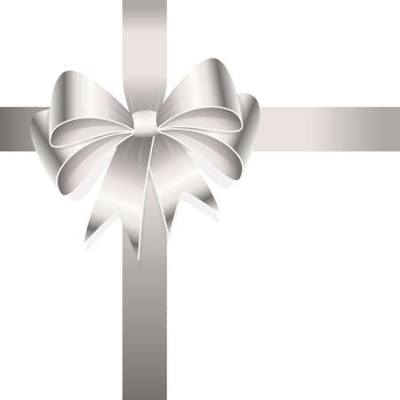 EPS 10 vector illustration of silver colored ribbon bow isolated on white background