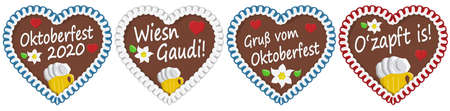 four illustrated gingerbread hearts with text in german for Oktoberfest 2020 2021 time Ilustração