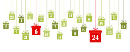 hanging christmas presents colored green with numbers 1 to 24 showing advent calendar for xmas and winter time concepts panorama style Иллюстрация