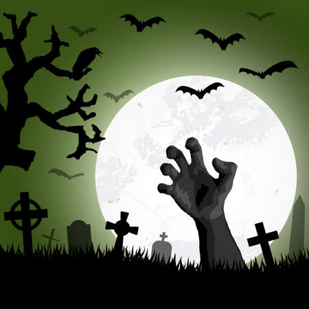 zombie hand in front of full moon with scary illustrated elements for Halloween background layouts Ilustracje wektorowe