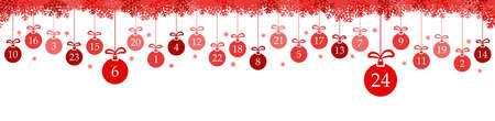 hanging christmas baubles colored red with numbers 1 to 24 showing advent calendar for xmas and winter time concepts, snow flakes on top side panorama style