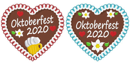 illustrated gingerbread hearts with text in german for Oktoberfest 2020 2021 time