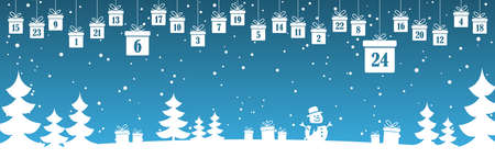 hanging christmas presents colored white with numbers 1 to 24 showing advent calendar for xmas and winter time concepts, blue nature background with fir trees and christmas symbols