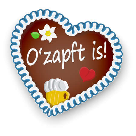 illustrated gingerbread heart with text It is tapped (in german) for Oktoberfest 2020 2021 time