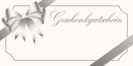 EPS 10 vector illustration of gift voucher (text in german) with silver colored satin band and ribbon bow and free space for text