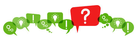 green speech bubbles with red question mark symbolizing questioning or a problem 矢量图像