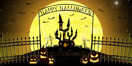 dark castle and cemetery in front of full moon with fence and archway with