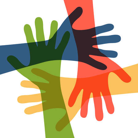 EPS 10 vector illustration of four different colored people stretch out their hands symbolizing cooperation or diversity friendship