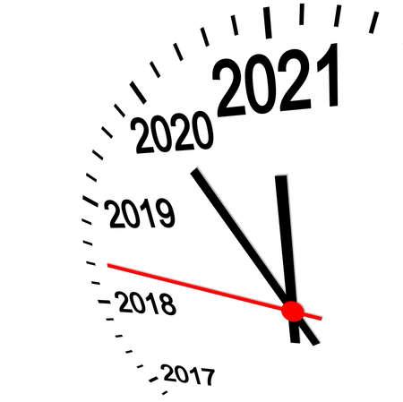 three dimensional clock showing New Year 2021 at 12 o'clock
