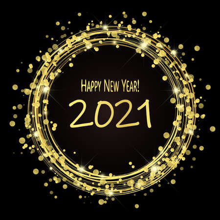 round lightning with dots and sparkle effects colored golden on dark background with Happy New Year 2021 greetings