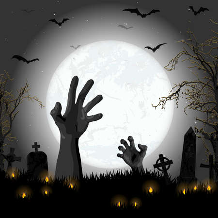 EPS 10 vector illustration with undead hands in front of full moon with scary illustrated elements for Halloween background layouts