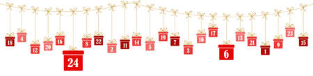 hanging christmas presents colored red with numbers 1 to 24 showing advent calendar for xmas and winter time concepts panorama style