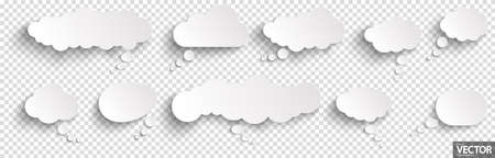illustration of speech bubbles with shadow looking like stickers with transparency in vector file Vettoriali