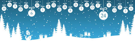 hanging christmas baubles colored white with numbers 1 to 24 showing advent calendar for xmas and winter time concepts, blue nature background with fir trees and other christmas symbols