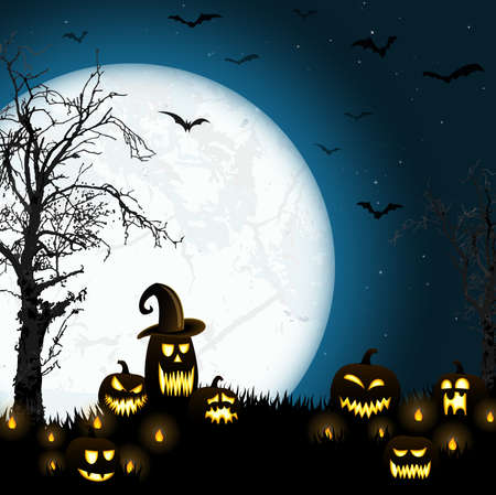 spooky halloween dead tree with some scary pumpkins in front of an full moon with bats Векторная Иллюстрация