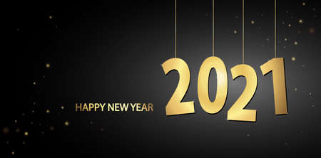 golden colored hang tag numbers for New Year 2021 Vektorgrafik