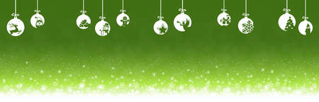 hanging baubles colored white with different abstract icons for christmas and winter time concepts with light green snow fall background