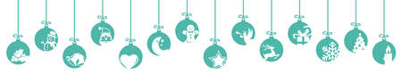 collection of hanging baubles colored blue with different abstract icons for christmas and winter time concepts Illustration