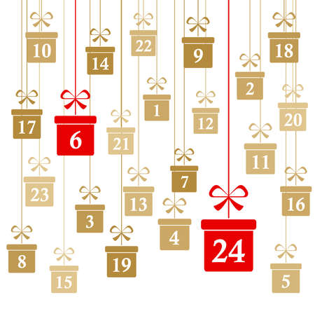 hanging christmas gifts colored gold with numbers 1 to 24 showing advent calendar for xmas and winter time concepts panorama style