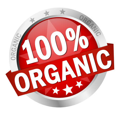 round colored button with banner and text 100% organic Vettoriali