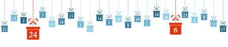 hanging christmas gifts colored blue with numbers 1 to 24 showing advent calendar for xmas and winter time concepts panorama style Иллюстрация