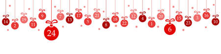 hanging christmas baubles colored red with numbers 1 to 24 showing advent calendar for xmas and winter time concepts, snow flakes on white background