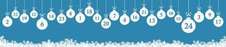 hanging christmas gifts colored white with numbers 1 to 24 showing advent calendar for xmas and winter time concepts, panorama background colored blue